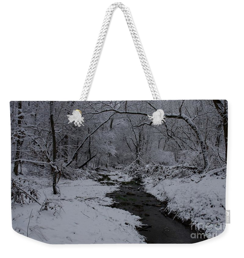 Snow Covered Landscape Weekender Tote Bag featuring the photograph The Beauty Of Winter by Kitrina Arbuckle
