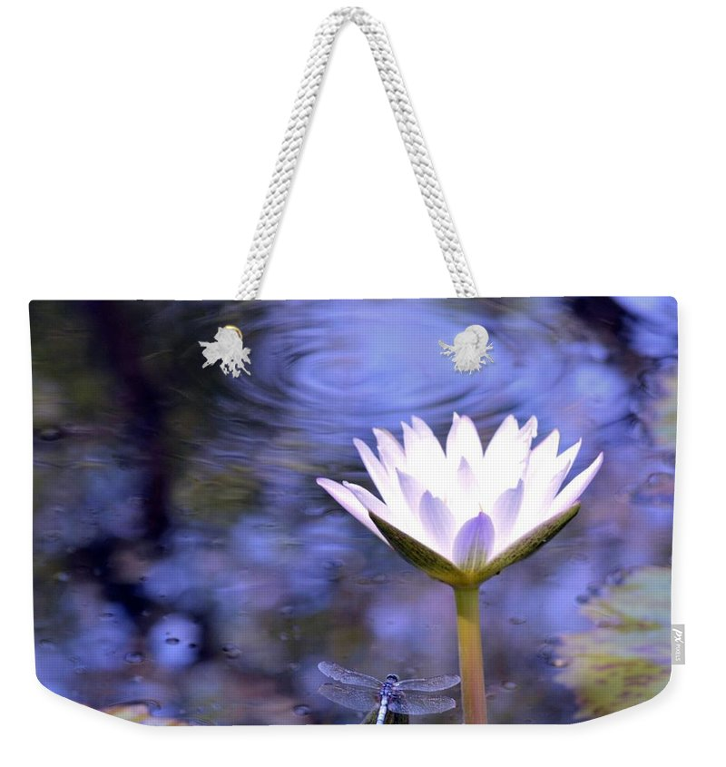 The Bee And The Dragonfly Weekender Tote Bag featuring the photograph The Bee And The Dragonfly by Maria Urso