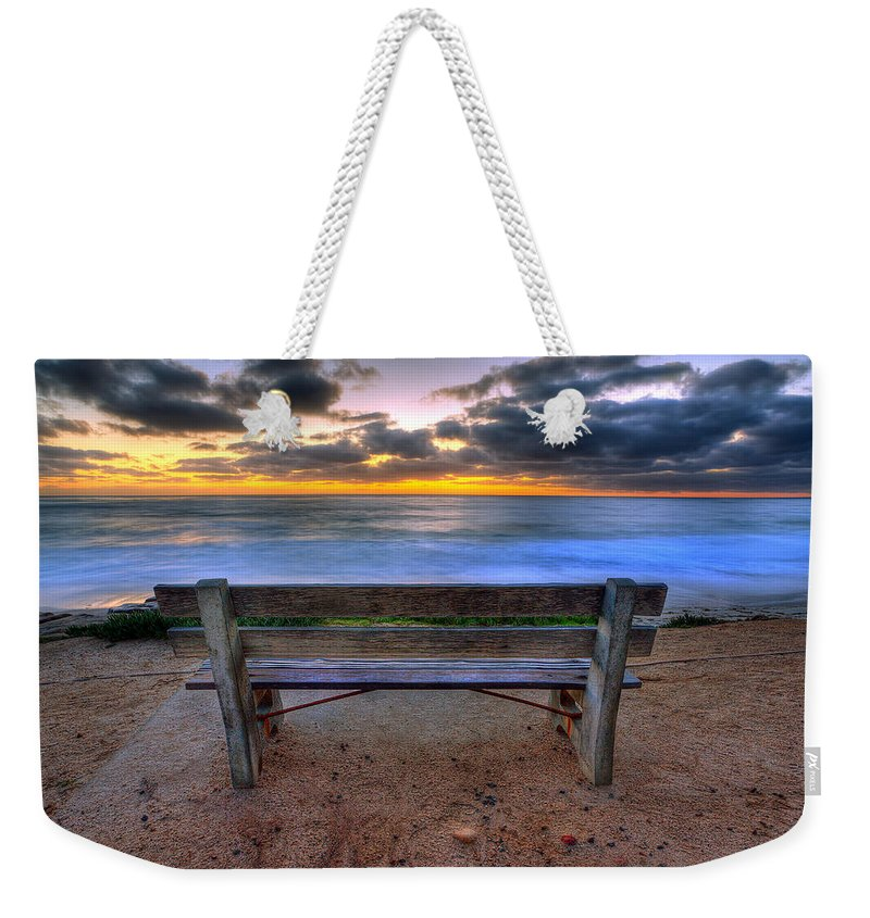 Beach Art Weekender Tote Bag featuring the photograph The Bench II by Peter Tellone