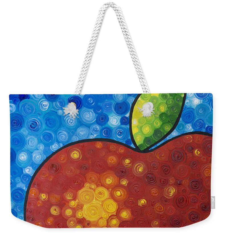 Food And Beverage Art Weekender Tote Bag featuring the painting The Big Apple - Red Apple By Sharon Cummings by Sharon Cummings