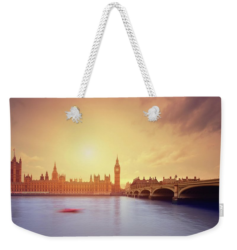 Clock Tower Weekender Tote Bag featuring the photograph The Big Ben And Parliament In London by Mammuth