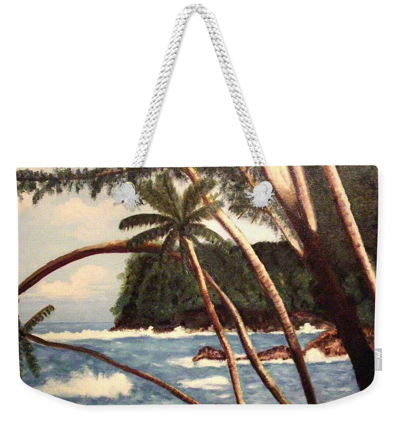 Hawaii Weekender Tote Bag featuring the painting The Big Island by Laurie Morgan