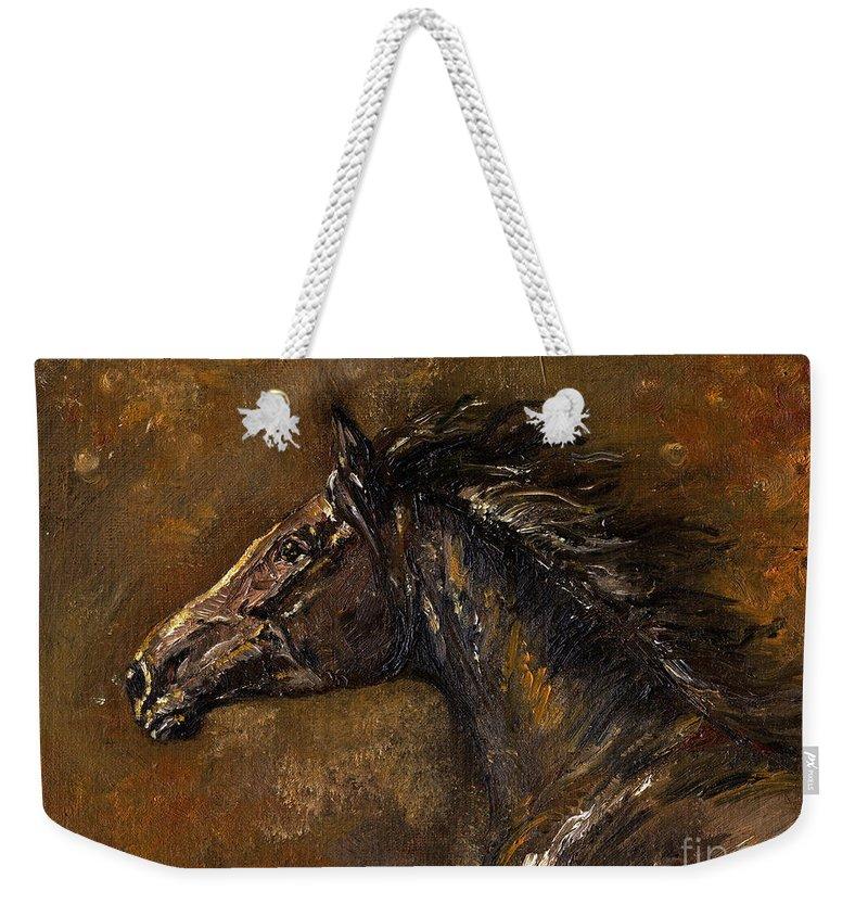 Horse Weekender Tote Bag featuring the painting The Black Horse Oil Painting by Angel Ciesniarska