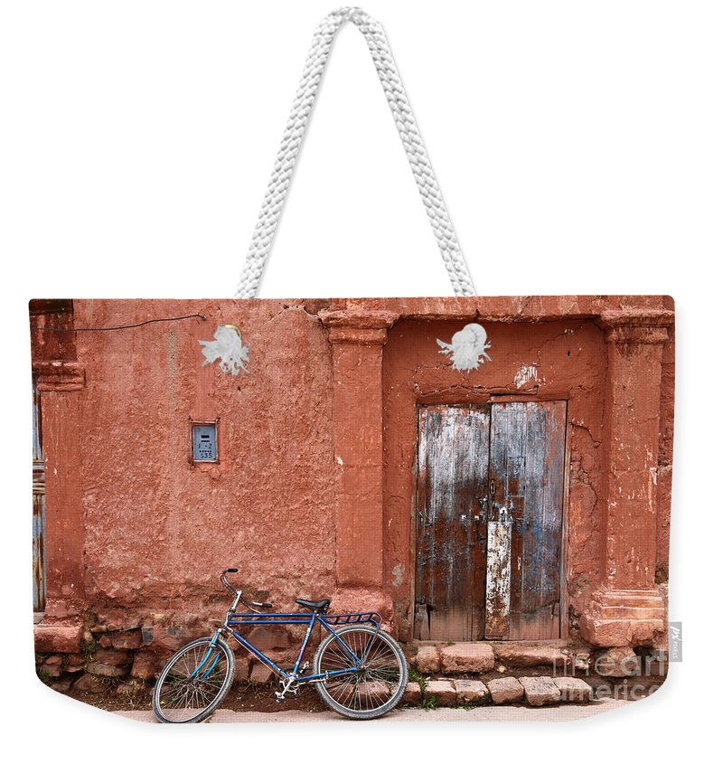Bicycle Weekender Tote Bag featuring the photograph The Blue Bicycle by James Brunker