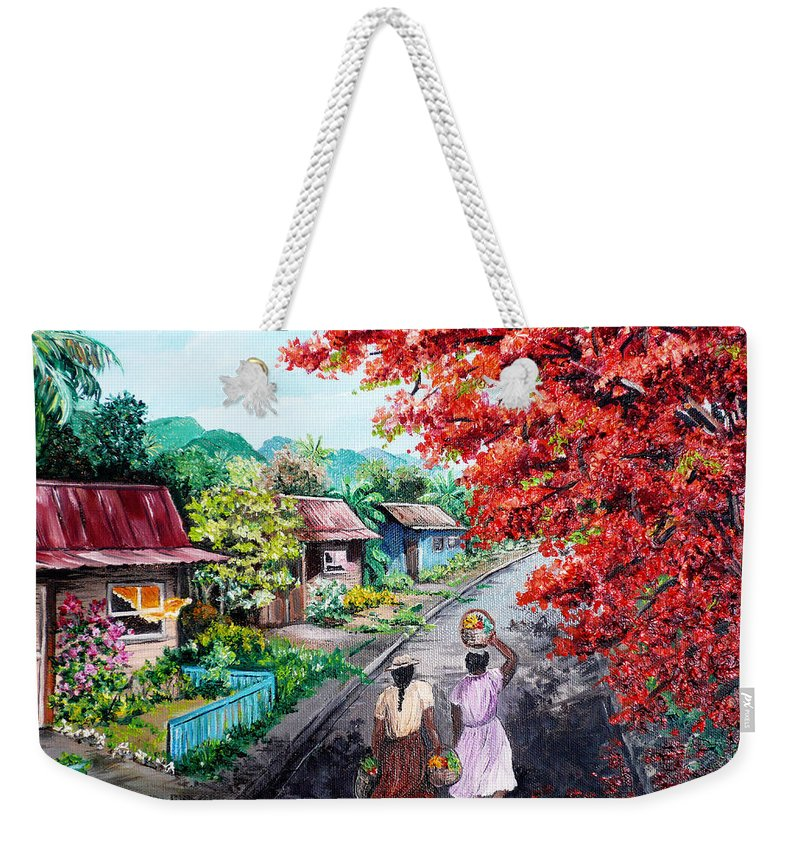 Caribbean House Painting Weekender Tote Bag featuring the painting The Blue Fence    Sold by Karin Dawn Kelshall- Best