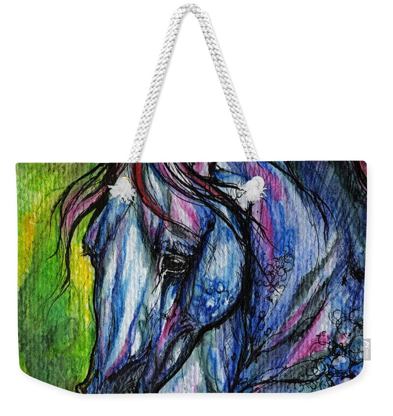 Horse Weekender Tote Bag featuring the painting The Blue Horse On Green Background by Angel Ciesniarska