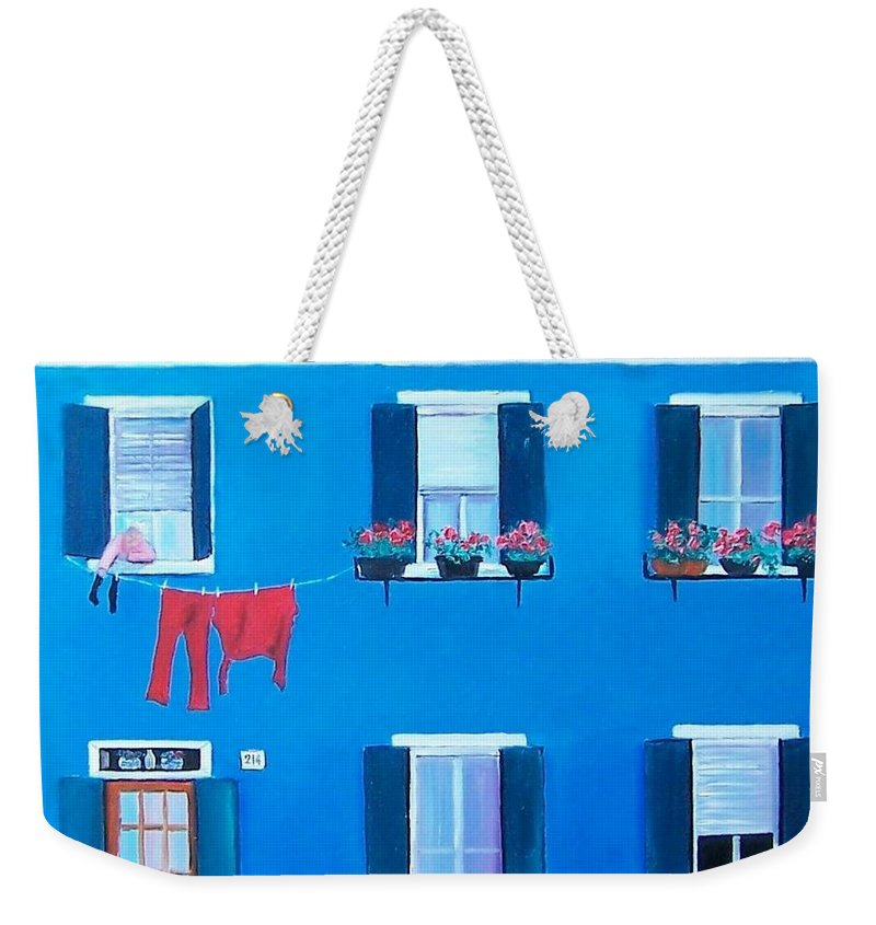 Blue House Weekender Tote Bag featuring the painting The Blue House Burano by Jan Matson