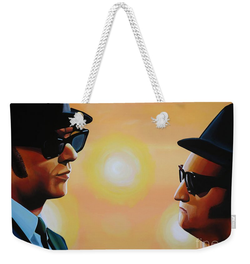 The Blues Brothers Weekender Tote Bag featuring the painting The Blues Brothers by Paul Meijering