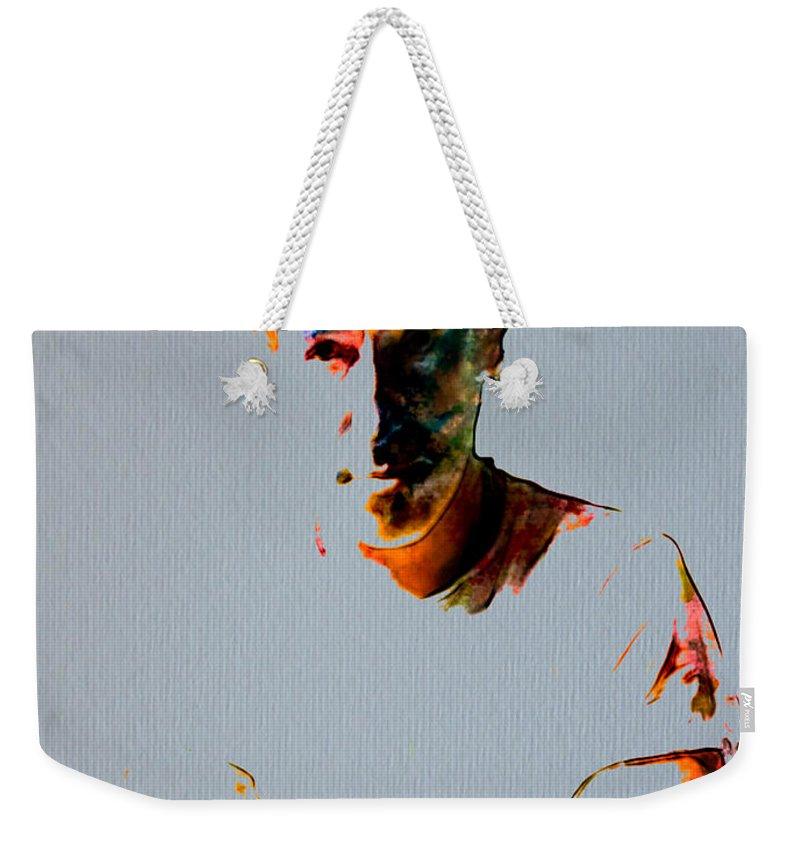 Bruce Springsteen Weekender Tote Bag featuring the painting The Boss Bruce Springsteen by Brian Reaves