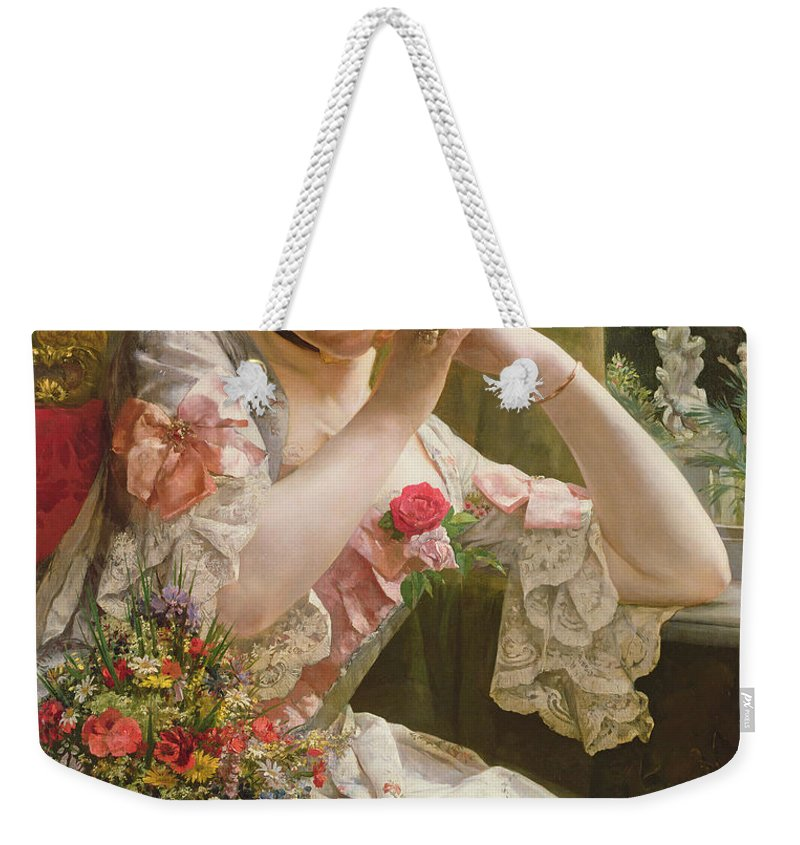 Flower Weekender Tote Bag featuring the painting The Bouquet by Albert Raudnitz