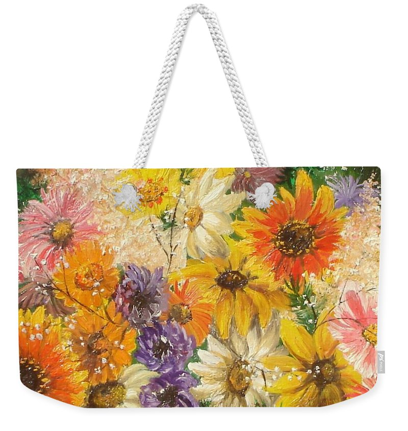 Flowers Weekender Tote Bag featuring the painting The Bouquet by Sorin Apostolescu