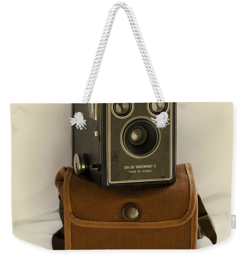 Camera Weekender Tote Bag featuring the photograph The Box Brownie by Linsey Williams