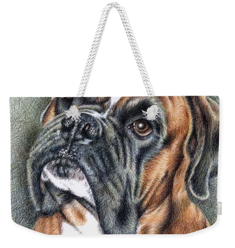 Dog Weekender Tote Bag featuring the drawing The Boxer by Nicole Zeug