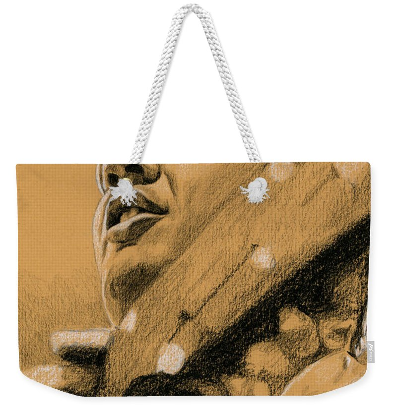 Elvis Weekender Tote Bag featuring the drawing The Boy From Tupelo by Rob De Vries