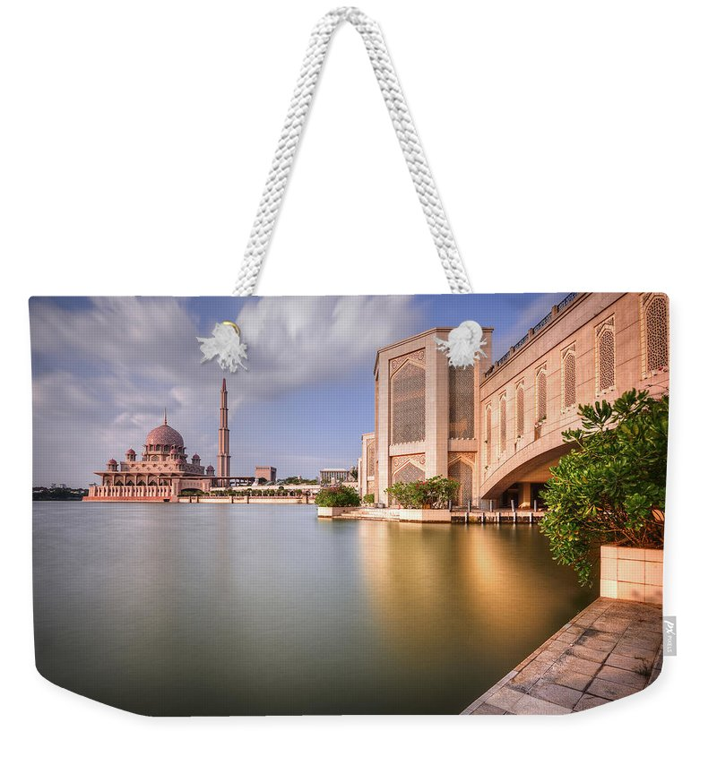 Tranquility Weekender Tote Bag featuring the photograph The Bridge And The Mosque by Khasif Photography