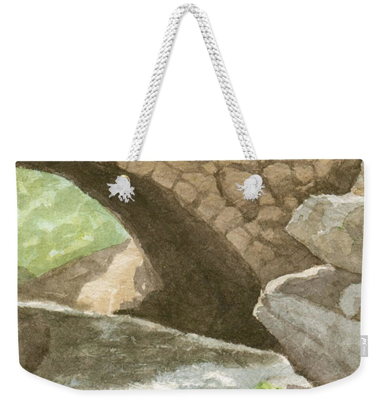 Water Weekender Tote Bag featuring the painting The Bridge at Gleason Falls by Sharon E Allen