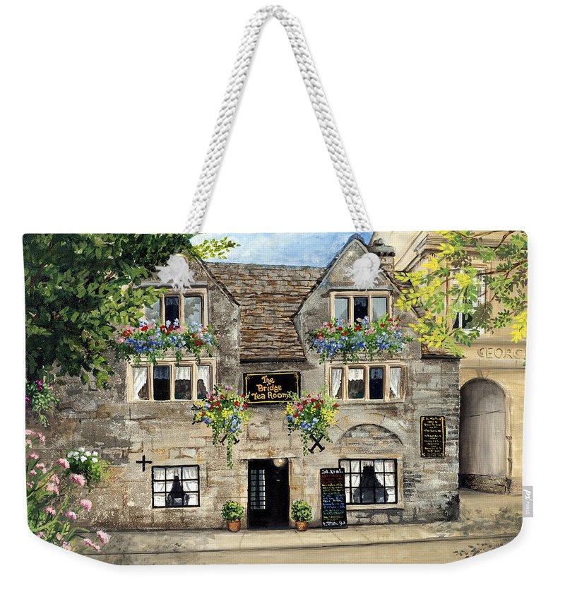 The Bridge Tea Rooms Weekender Tote Bag featuring the painting The Bridge Tea Rooms by Mary Palmer
