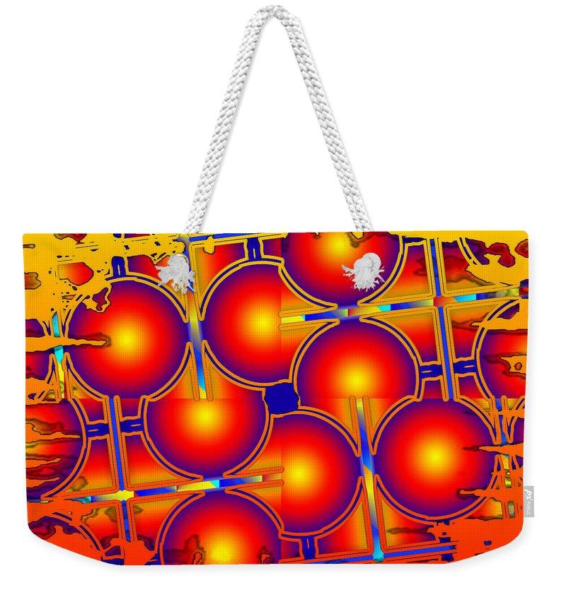 Orange Weekender Tote Bag featuring the digital art The Bright Side by Robert Orinski