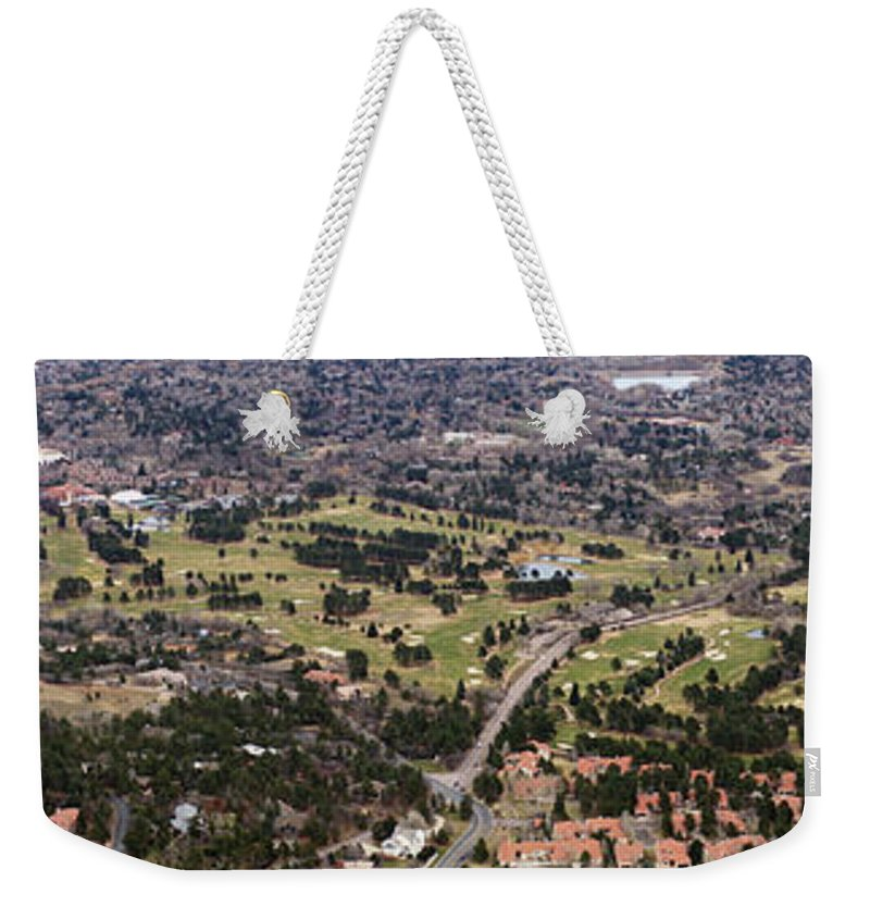 The Broadmoor Weekender Tote Bag featuring the photograph The Broadmoor Panoramic by Ernie Echols