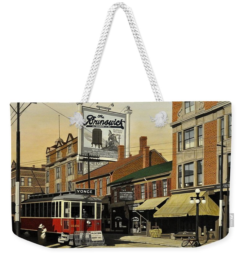 Toronto Weekender Tote Bag featuring the painting The Brunswick 1916 by Kenneth M Kirsch