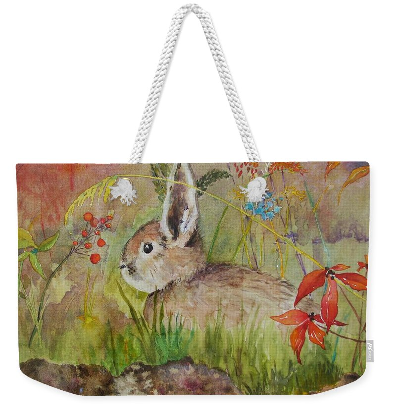 Nature Weekender Tote Bag featuring the painting The Bunny by Mary Ellen Mueller Legault