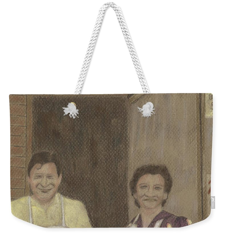 Market Weekender Tote Bag featuring the drawing The Butcher And His Wife by Arlene Crafton