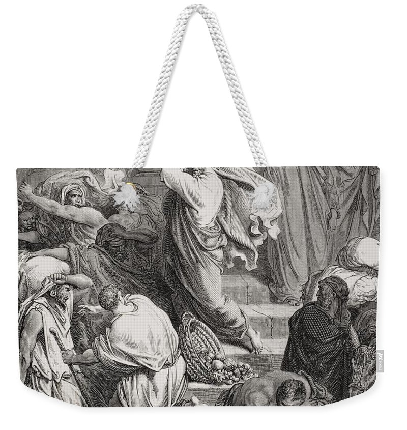 Jesus Weekender Tote Bag featuring the painting The Buyers And Sellers Driven Out Of The Temple by Gustave Dore