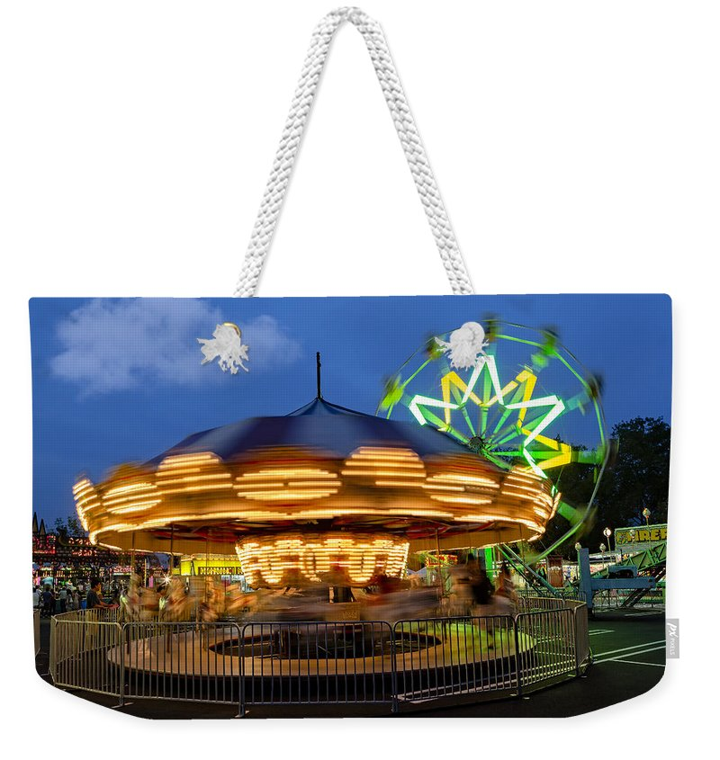 Ferris Wheel Weekender Tote Bag featuring the photograph The Carnival Is In Town by Susan Candelario