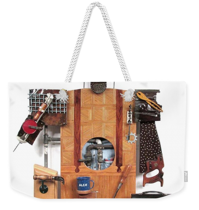 Czappa Weekender Tote Bag featuring the sculpture The Carpenter  #16 by Bill Czappa