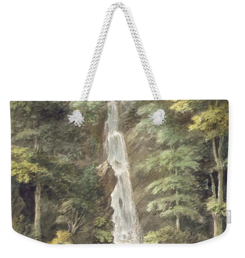 River Weekender Tote Bag featuring the drawing The Cascade Waterfall At Hestercombe by English School