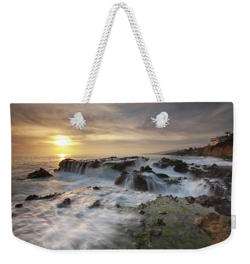 Scenics Weekender Tote Bag featuring the photograph The Cauldron - Victoria Beach by Images By Steve Skinner Photography