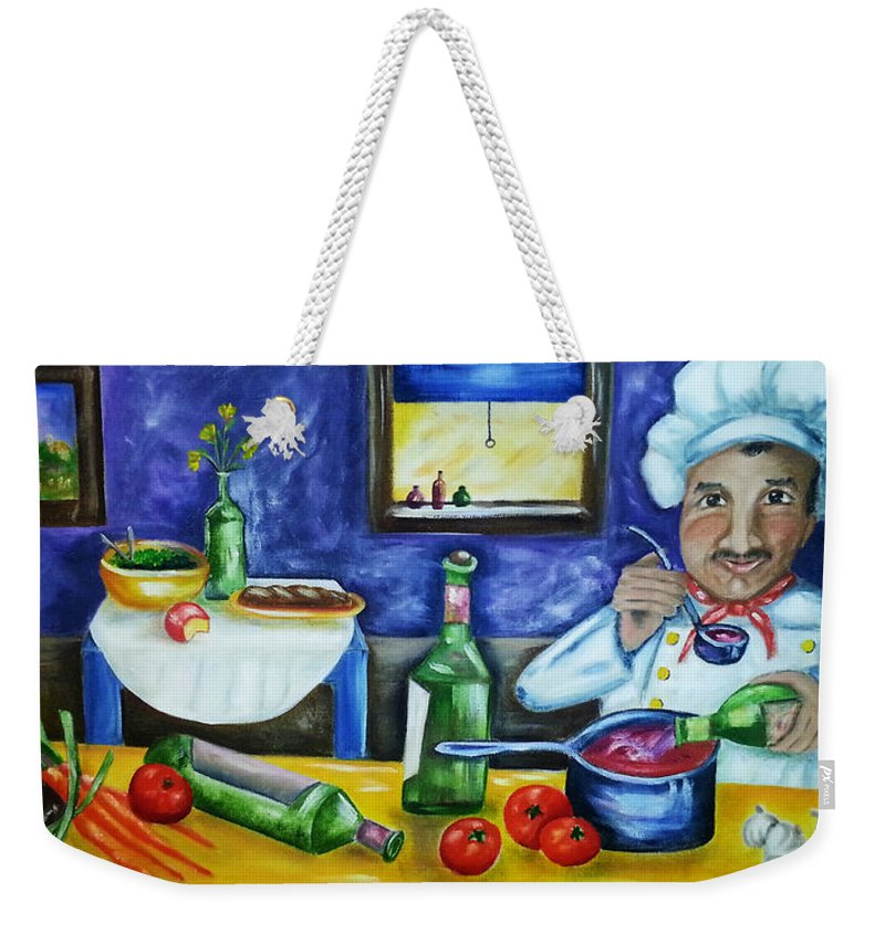 Chef Weekender Tote Bag featuring the painting The Chef by Diana Haronis