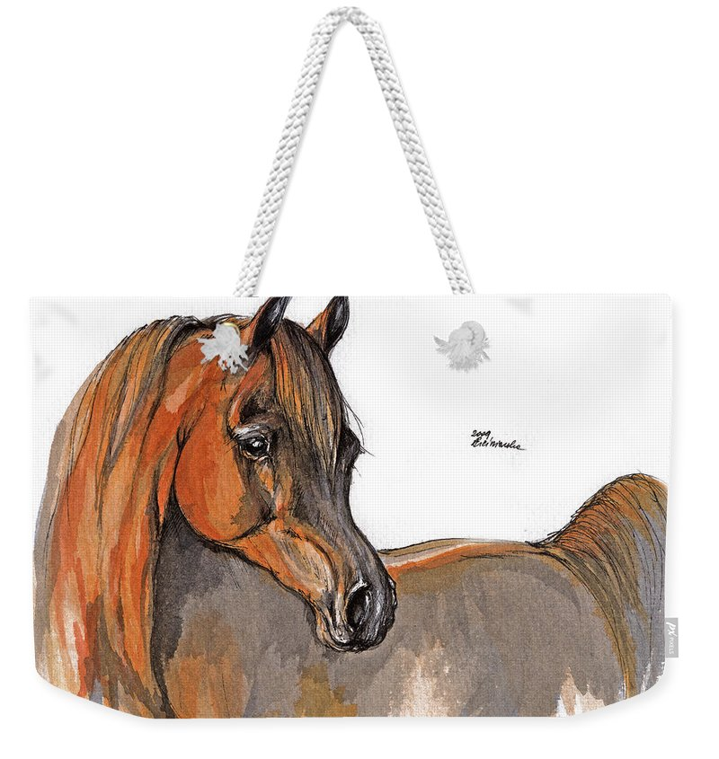 Chestnut Horse Weekender Tote Bag featuring the painting The Chestnut Arabian Horse 2a by Angel Tarantella