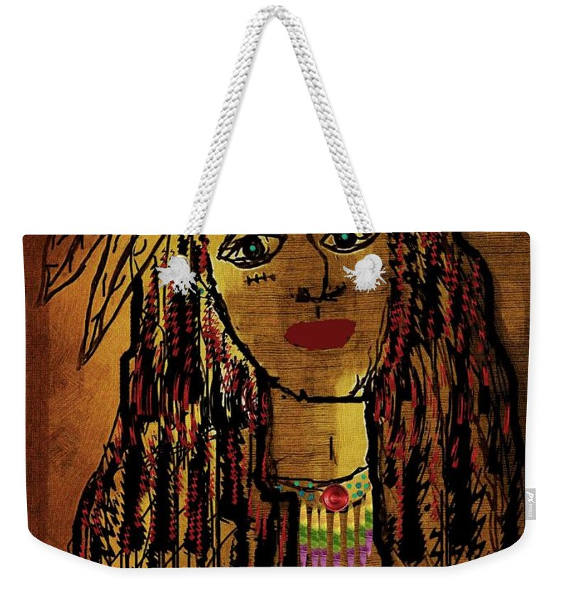 Landscape Weekender Tote Bag featuring the mixed media The Cheyenne Indian Warrior Brave Wolf Pop Art by Pepita Selles