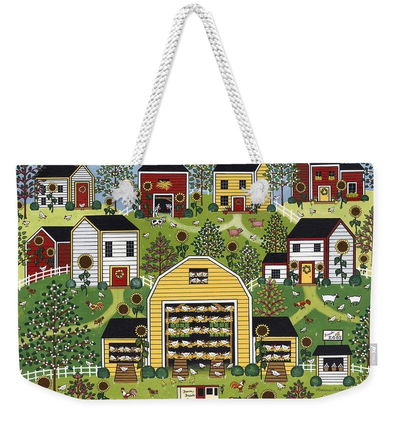 Folk Art Weekender Tote Bag featuring the painting The Chicken Barn by Medana Gabbard