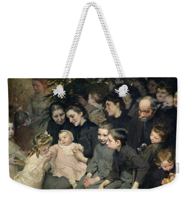 Christmas Weekender Tote Bag featuring the painting The Christmas Tree At The Dispensary by Henri Jules Jean Geoffroy