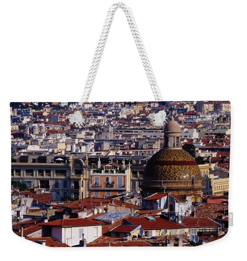French Riviera Weekender Tote Bag featuring the photograph The City From Parc Du Chateau Castle by Richard I'anson