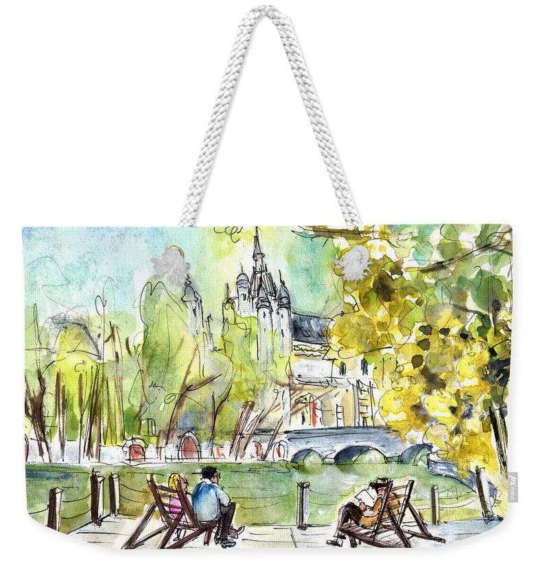Travel Weekender Tote Bag featuring the painting The City Park In Budapest 01 by Miki De Goodaboom