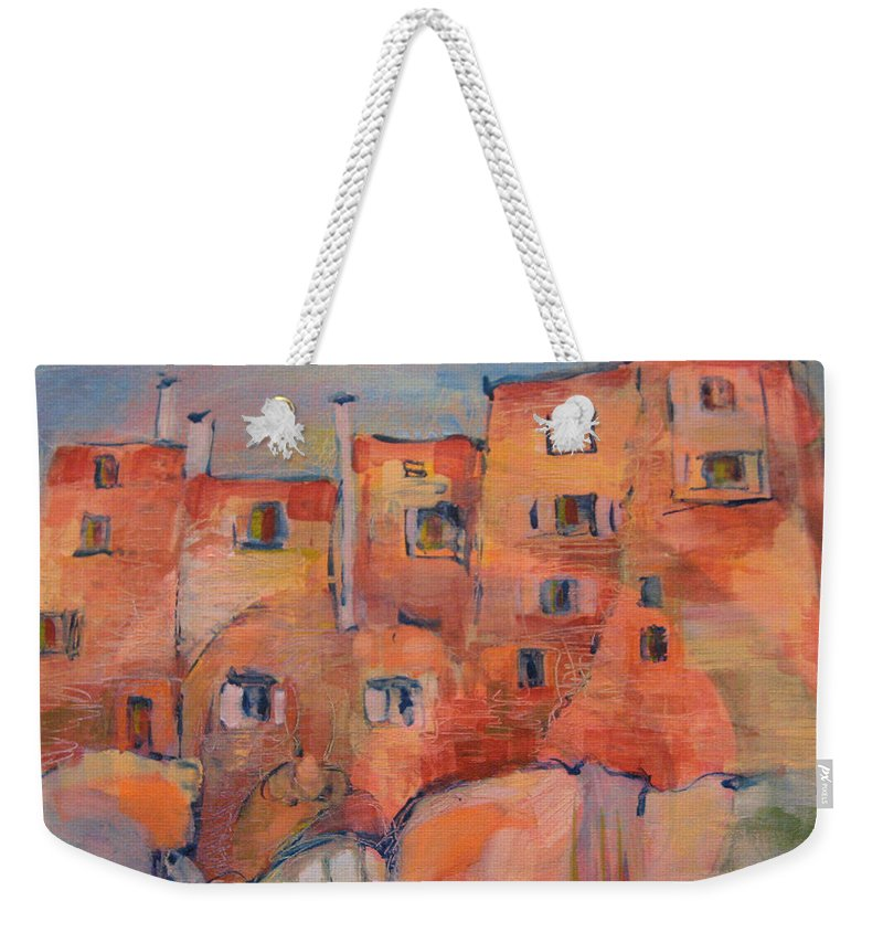 Italy. Italia Weekender Tote Bag featuring the painting The City Walls Watch by Jeff Seaberg