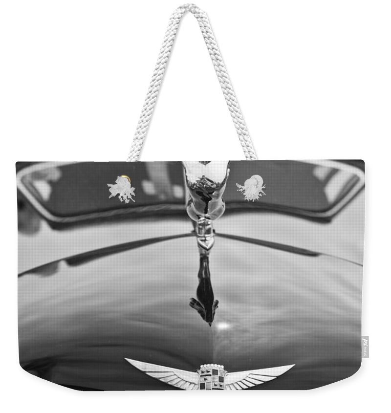 Concours D'elegance Weekender Tote Bag featuring the photograph The Classic Cadillac Car At The Concours D Elegance. by Jamie Pham