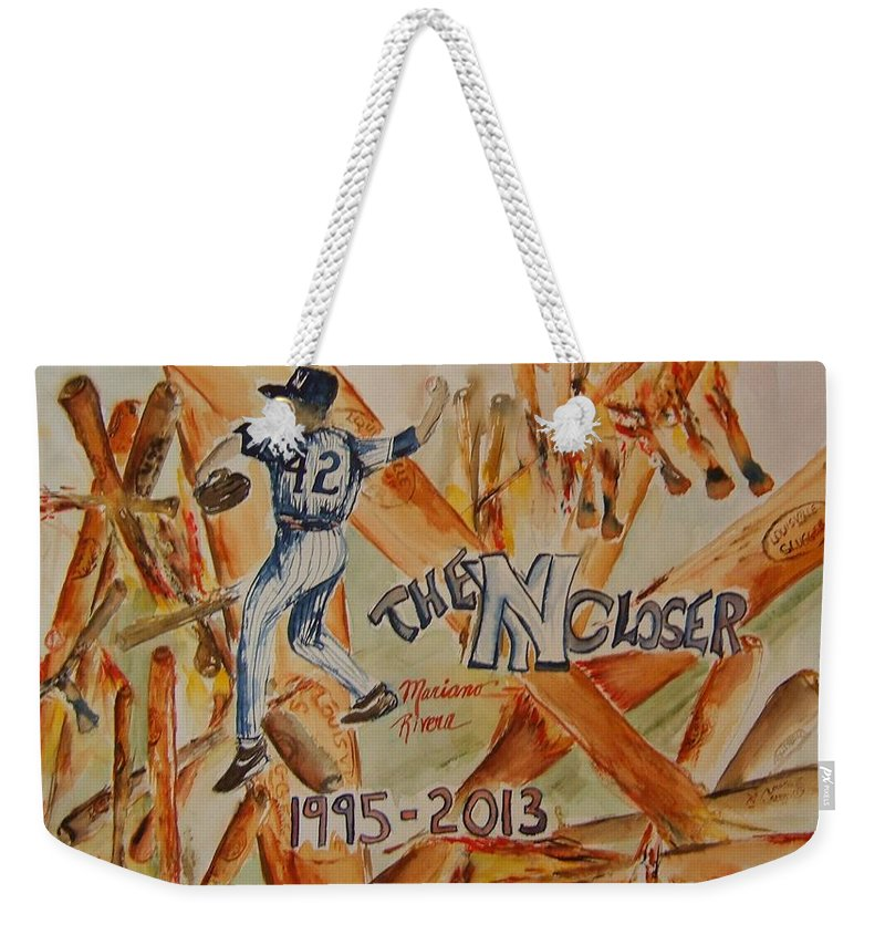 Baseball Weekender Tote Bag featuring the painting The Closer by Elaine Duras