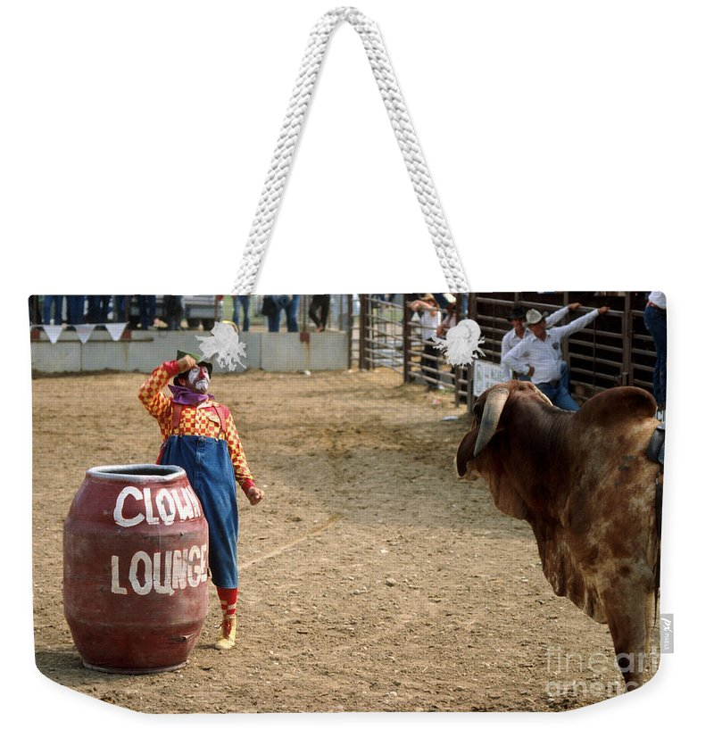 Rodeo Weekender Tote Bag featuring the photograph The Clown by Jerry McElroy