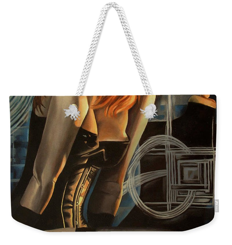 Model Weekender Tote Bag featuring the painting The Compliment In Cobalt by Timothy Loyd