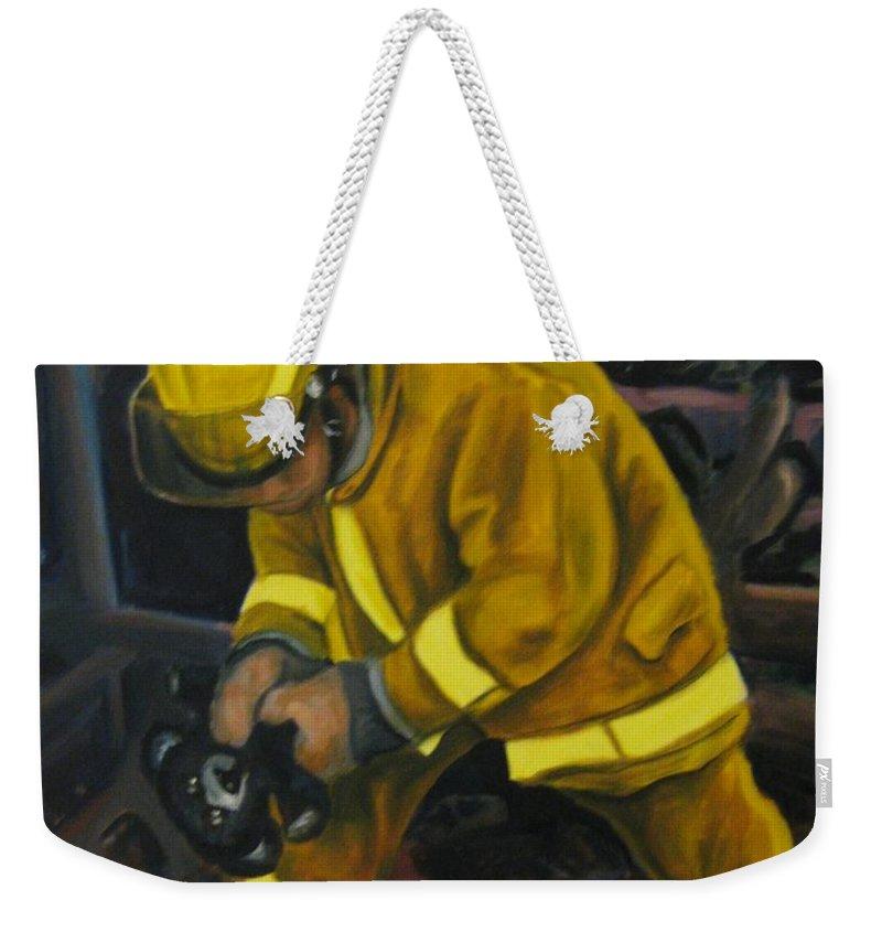 The Compulsion Towards Heroism Weekender Tote Bag featuring the painting The Compulsion Towards Heroism by John Malone