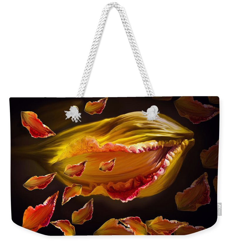 Flower Weekender Tote Bag featuring the painting The Contagion Of Laughter by Angela Stanton