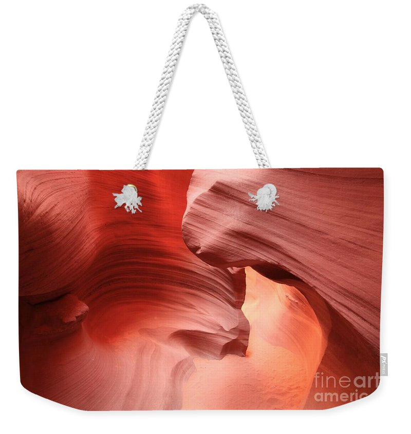 Arizona Slot Canyon Weekender Tote Bag featuring the photograph The Corkscrew Slot by Adam Jewell