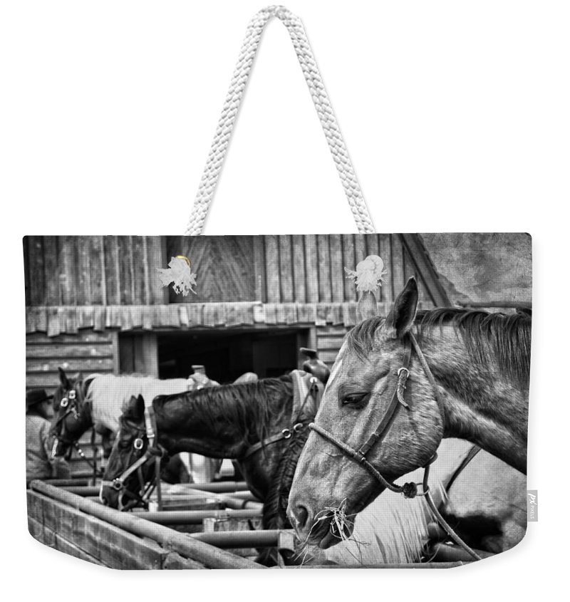 Horses Weekender Tote Bag featuring the photograph The Cowboy by The Artist Project