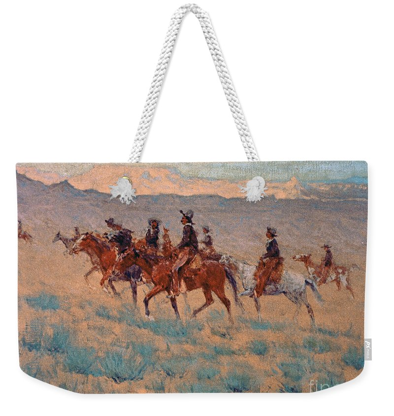 Remington Weekender Tote Bag featuring the painting The Cowpunchers by Frederic Remington