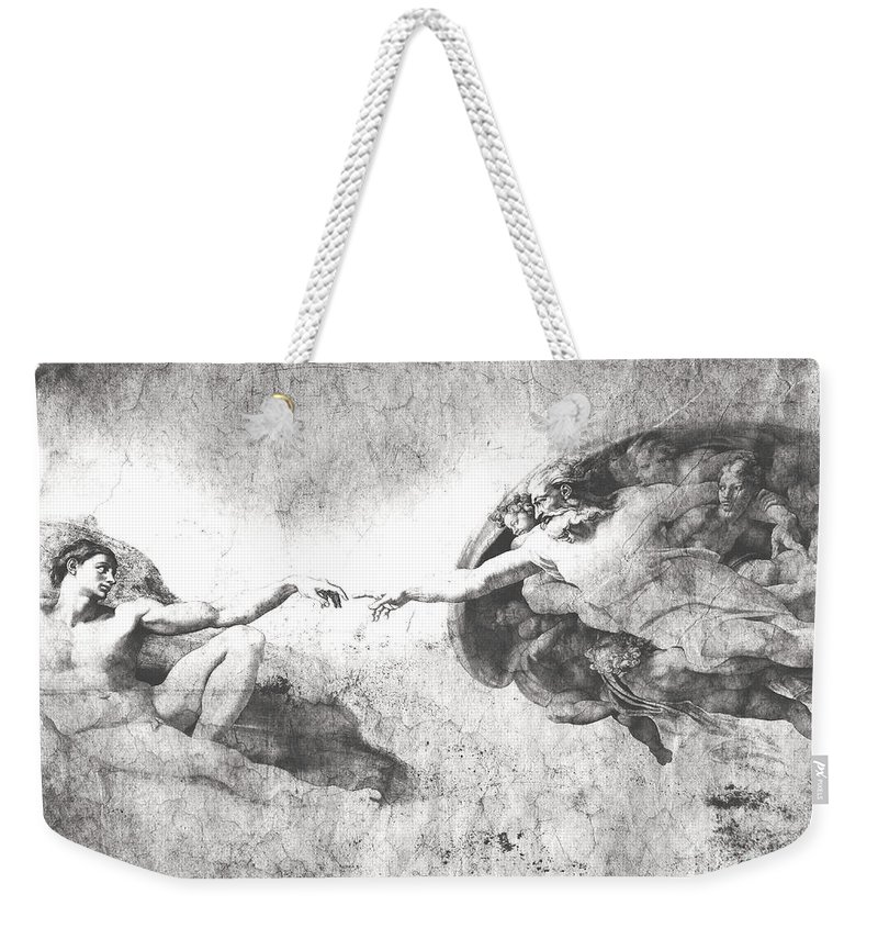 The Creation Of Adam Weekender Tote Bag featuring the digital art The Creation Of Adam by Stefano Senise