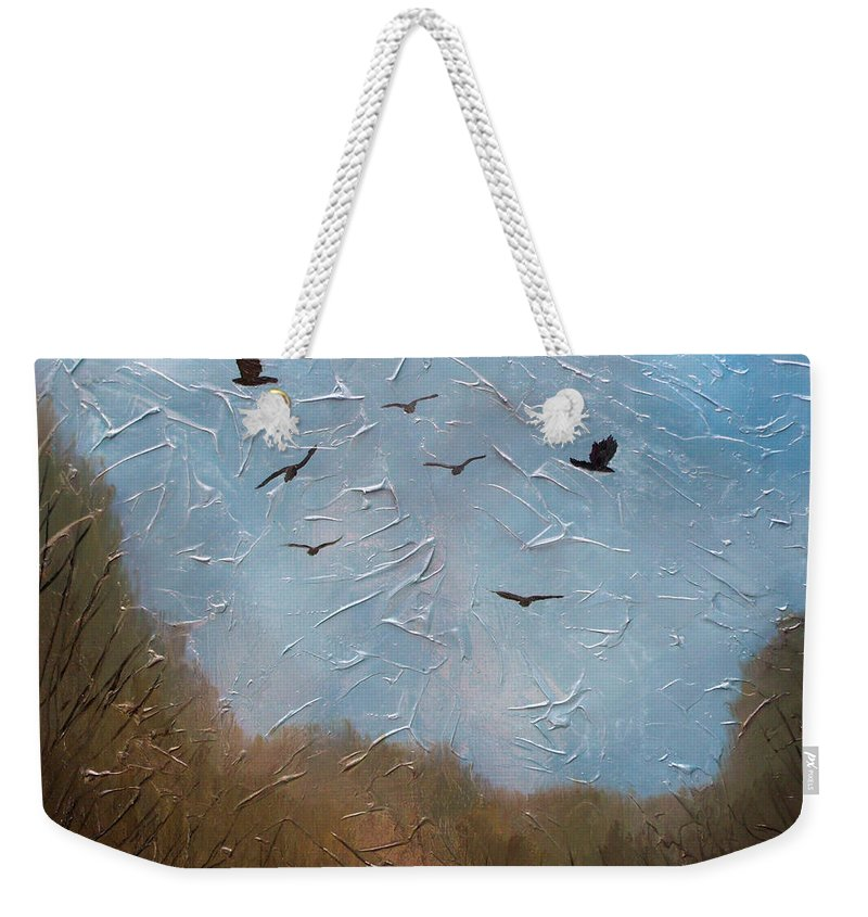 Landscape Weekender Tote Bag featuring the painting The crows by Sergey Bezhinets